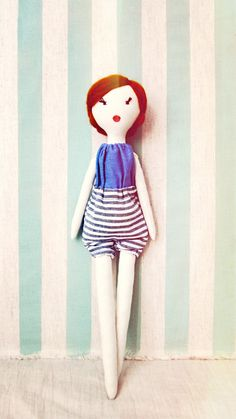 Gorgeous Handmade Doll // Cloth doll, Rag doll, summer, retro/ Debbie lespetitesmainsS on etsy