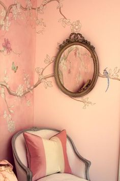 Pretty girly nook. #pink #floral #girlnook #branches #mirror