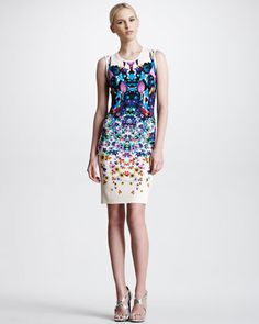 Sleeveless Symmetric Floral-Print Dress, White/Multicolor by Roberto Cavalli