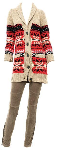 Saco de lana con guardas + pantalón chupín de corderoy con cierres, by Maria Cher.  (www.parati.com.ar)