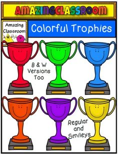 This cute clip art set includes 16 colorful trophy images. 8 of the images are smiley colorful trophies, and 8 of the images are regular trophies.   The images come in the colors:  red, orange, yellow, green, blue, purple, gold, and digital stamp format.