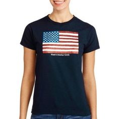 Women's Americana Flag Tee, Size: Medium, Blue