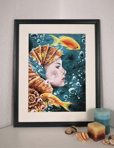 Art Print of a surreal underwater painting! A fantasy portrait of a beautiful sea creature! Beautiful Sea Creatures, Underwater Painting, Fantasy Portraits, Surrealism Painting, Beacon Of Light, Original Artwork, Fine Art Prints, Inspire, Etsy