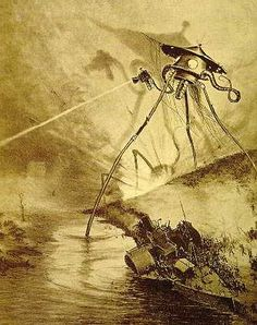 "Alien tripod illustration by Alvim Corréa, from the 1906 French edition of H.G. Wells' ""War of the Worlds""."