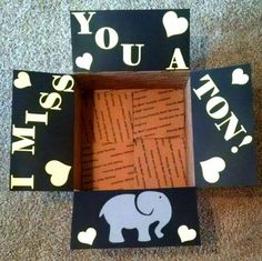 Care package box kit I miss you a ton by BekProductions on Etsy More packaging for boyfriend This item is unavailable Bf Gifts, Craft Gifts, Boyfriend Gifts, Cute Gifts, Missionary Care Packages, Deployment Care Packages, Care Box, Care Care, College Gifts