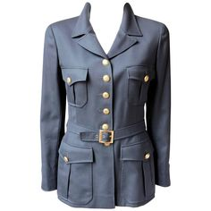Chanel Gabardine Military Style Jacket with 16 Gold Buttons | From a unique collection of rare vintage Jackets at https://www.1stdibs.com/fashion/clothing/jackets/jackets/.