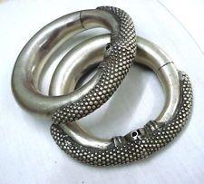 vintage antique tribal old silver ankle bracelet anklet feet bangle gypsy hippie
