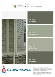 Exterior Colors With Wood Accents - Exterior Remodel Rustic - - Green Exterior Paints, Exterior Paint Colors For House, Paint Colors For Home, Outside House Paint Colors, Siding Colors For Houses, Green Siding, Grey Exterior, House Paint Color Combination, House Color Combinations