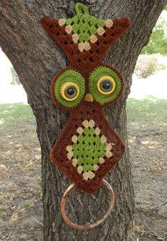 1970s Crocheted Owl