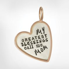 "Size 3 (13/16"") silver heart, rose gold original frame, ""My greatest blessings call me Mom"""