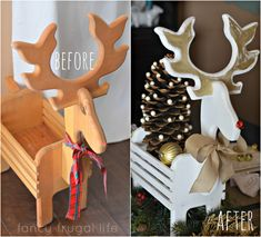 Thrift store reindeer makeover using guilding wax.  Ooh, I have a reindeer almost exactly like this.  I have to do this makeover!