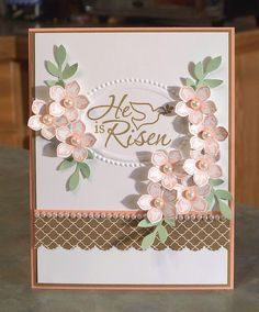 Handmade Inspirational Card - Stampin Up Easter Dove and Petite Petals