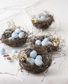 Almond candies in nest - perfect to place on top of each plate setting for Easter Luncheon