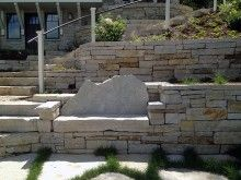 Fond du Lac Weatheredge Wall Stone with a built in stone bench