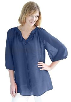 Woman Within Plus Size Blouse With Tie-Neck (Royal Navy,4X)