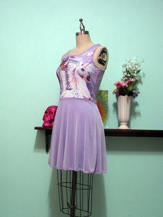 Tie Dye Unicorn Rainbow Castle Skater Dress - MADE TO ORDER