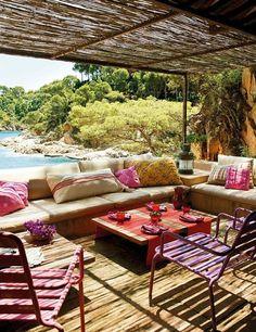 Sitzecke Mediterran-garten Sichtschutz-tuch Bunt-ideen Deko | Moni ... 25 Erstaunliche Ideen Garten Design Verbessern