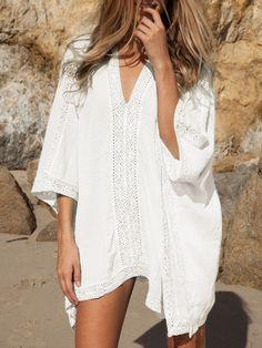White+Deep+V-neck+Lace+Insert+Loose+Dress+15.11