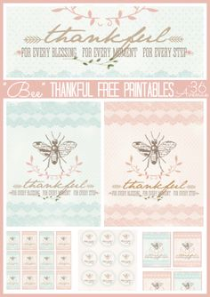 """Bee"" Thankful Free Printables at the36thavenue.com Perfect for Thanksgiving!  so cute for gifts and pie tags"