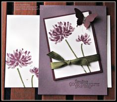 Stampin' Up! Too Kind Stamp Set, Blackberry Bliss and Perfect Plum Cardstock and Ink, Butterfly Punch, Rhinestones Basic, Mossy Meadow Ribbon.  Cased from great card at South Pacific Convention - my apologies, I think this was Ngaire Anderson's demonstration.  Ann's PaperWorks www.annlewis.stampinup.net