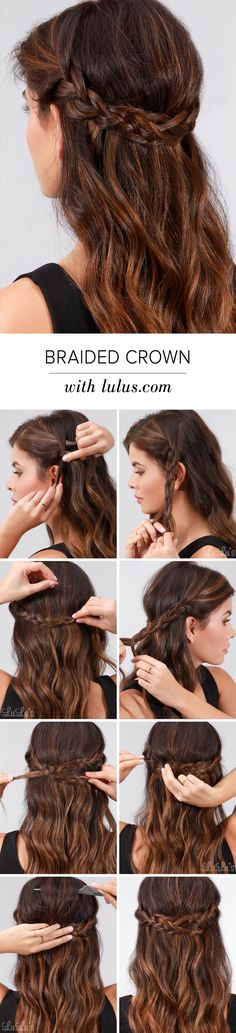 Lulus How-To: Braided Crown Hair Tutorial