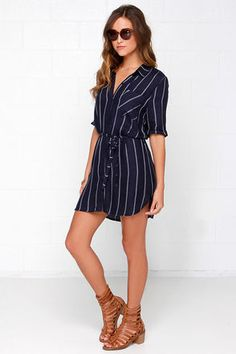 Cute Navy Blue Dress - Striped Dress - Shirt Dress - $45.00 Would be perfect for LA!