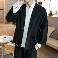 2018 Winter New Fashion Men Solid Color Single Breasted Trench Coat / Men Casual Slim Long Woolen Cloth Coat Large Size Traditional Kimono, Traditional Outfits, Mens Linen Outfits, Summer Coats, Half Sleeve Shirts, Kimono Coat, Stitch Shirt, Linen Shirts, Cotton Shirts