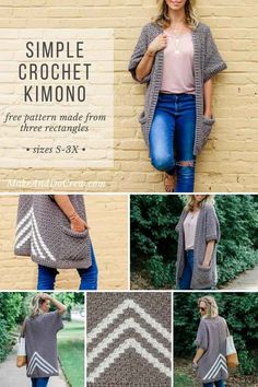 Easy Crochet Kimono Sweater Made from Rectangles - Free Pattern! Basic crochet rectangles come together to form a gorgeously drapy, short-sleeved sweater in this simple free corner to corner kimono pattern and tutorial. Kimono Pattern, Crochet Cardigan Pattern, Crochet Jacket, Crochet Patterns, Sewing Patterns, Skirt Patterns, Crochet Ideas, Knitting Patterns, C2c Crochet