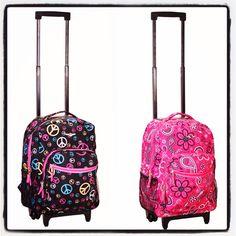 Rolling backpacks! Girls Rolling Backpack, Girl Backpacks, Vera Bradley Backpack, Purses, School, Bags, Fashion, Handbags, Handbags