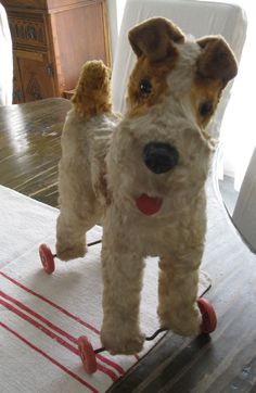 1930s Stuffed Dog on Wheels