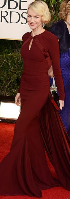 Who made  Naomi Watts' dark red long sleeve gown, jewelry, and shoes that she wore to the 2013 Golden Globes in Beverly Hills?