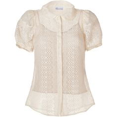 VALENTINO R.E.D. Ivory Embroidered Silk Round Collar Shirt ($605) ❤ liked on Polyvore