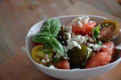 Watermelon salat with feta and tomato