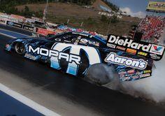 Matt Hagan's heats up the tires in his Aaron's Mopar Funny Car.