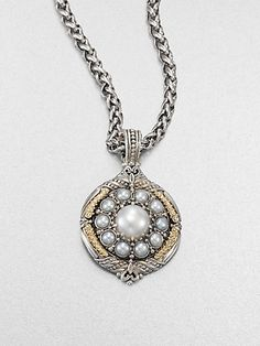 Cultured Pearl, Sterling Silver and 18K Yellow Gold Enhancer $995.0 by Saks Fifth Avenue