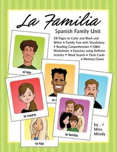 La Familia Spanish Family Unit introduces beginning/intermediate level Spanish students to Spanish vocaulary relating to the family. It includes 28 pages of classroom work, vocabulary practice, and answer sheets in both color and black and white. This unit focuses on 24 vocabulary words pertaining to immediate family members as well as extended family, such as in-laws, nieces and nephews, and grandchildren.