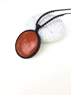 Red Jasper necklace, natural stone Macrame necklace, men's necklace, Rustic, Boho, Surf, Beach, Large stone, Passion, Heart, Spiritual Gift