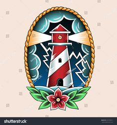 Lighthouse and storm. Vintage tattoo illustration