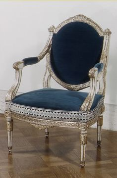 LOUIS XVI ARMCHAIR~ French, 18th c. Carved, painted and gilded beechwood.