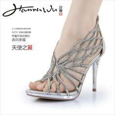 Effulgent  silver rhinestone Strappy high heels summer fashion women shoes Gladiator wedding shoes-in Pumps from Shoes on Aliexpress.com
