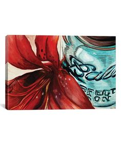 Trademark Art Trademark Fine Art Ball Jar Red Lily Canvas Art by Jennifer Redstreake Lily Painting, Painting Frames, Painting Prints, Art Prints, Watercolor Paintings, Floral Paintings, How To Wrap Flowers, Red Flowers, Canvas Wall Art