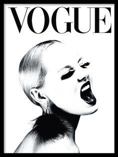 Plakat mit VOGUE-Cover in Schwarz-Weiß. Poster with VOGUE cover in black and white. Black And White Posters, Black And White Pictures, Black White, Black And White Prints, Black Rock, Black Art, Vogue Magazine Covers, Vogue Covers, Fashion Prints