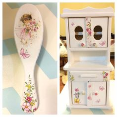 Little girls decoupaged set Furniture Restoration, Diy Stuff, Little Girls, Decorative Boxes, Wedding Decorations, Shabby Chic, Objects, Diy Projects, Home Decor