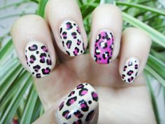 Nude and pink cheetah nails!