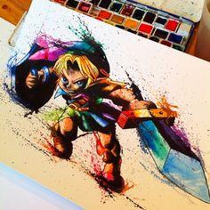 Awesome Legend of Zelda fan art. Amazing Drawings, Cool Drawings, Graffiti Doodles, Artist Sketchbook, Tatoo Art, Pokemon Cards, Totoro, Legend Of Zelda, Game Art