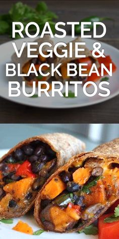 Roasted Veggie and Black Bean Burritos - Roasted sweet potato and veggies combined with black beans make this one of the best vegetarian burrito recipes you can make at home! Best Vegetarian Burrito Recipe, Burrito Recipes, Veggie Recipes, Mexican Food Recipes, Cooking Recipes, Vegetarian Meal, Dinner Recipes, Burrito Burrito, Grilled Vegan Recipes