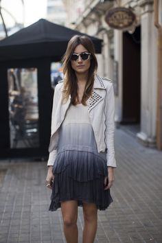 ombre dress with studded white leather jacket. yes, please.