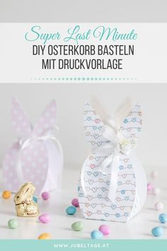 Last minute DIY tinker: Easter basket or gift packaging with free print template - Trend Holiday Quote 2020 Birthday Rewards, Easter Presents, Boyfriend Gift Basket, Inexpensive Gift, Free Prints, Print Templates, Gift Packaging, Easter Baskets, Small Gifts