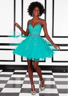 Fashionable Tulle & Satin Spaghetti Straps A-Line Short Homecoming Dresses With Beads & Rhinestones