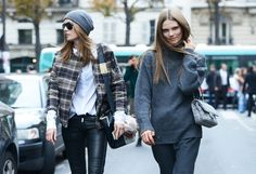 Gray + plaid + black leather. Spring '14 Paris Fashion Week Street-Style